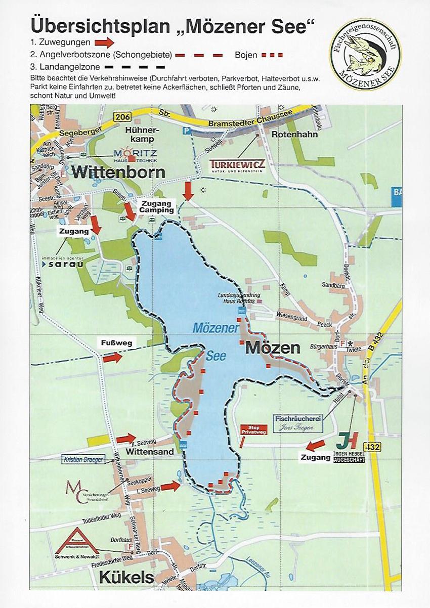 Zugangsmöglichkeiten Mözener See